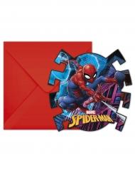 Spidermann™-Einladungskarten in Spinnenform 6 Stück bunt