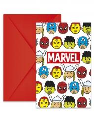 6 Einladungskarten mit Umschlägen Marvel