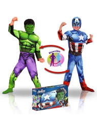 Marvel™-Lizenzkostüm Captain America™ und Hulk™ Wendbar bunt