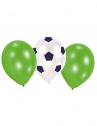 Fußball-Ballons Partydekoration für Sportevents 6 Stück grün-weiss