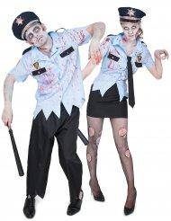 Zombie Polizisten Paarkostüm für Erwachsene
