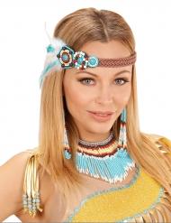 Indianer-Set 3-teilig mit Perlen und Federn bunt
