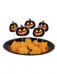 Kürbis-Spießchen Tischdekoration Halloween 12 Stück schwarz-orange