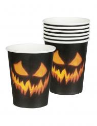 Kürbis-Pappbecher Halloween-Tischdekoration 6 Stück schwarz-orange 250ml