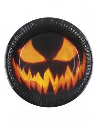 Kürbis-Pappteller Halloween-Tischzubehör 6 Stück schwarz-orange 23cm