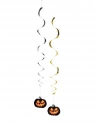 Spiral-Girlanden Kürbis Halloween-Dekoration silber-gold 85 cm