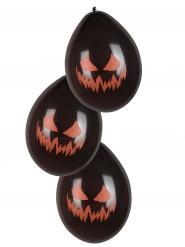 Kürbis-Luftballons Halloween 6 Stück schwarz-orange 25cm