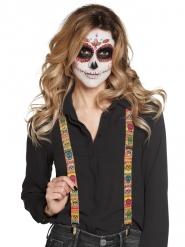 Totenschädel-Hosenträger Tag der Toten Kostümzubehör bunt