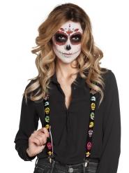 Tag der Toten Hosenträger Kostümzubehör Halloween schwarz-bunt