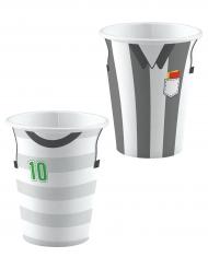 Fussball-Pappbecher Partyzubehör 8 Stück grau-weiss 250 ml
