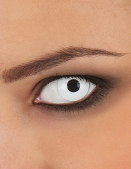 Schaurige Kontaktlinse mit Dioptrien Halloween-Zubehör weiss