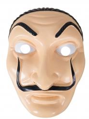 Gefährliche Bankräuber-Maske mit Schnurrbart hautfarben-schwarz