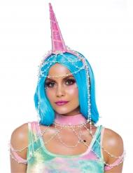 Glamouröses Einhorn-Kostüm-Set für Damen 2-teilig pink-weiss