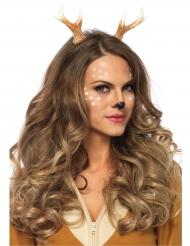 Hirsch-Geweih Haarreif für Damen Kostüm-Accessoire braun-weiss