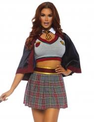 Sexy Zauberschülerin Schuluniform Halloween-Damenkostüm grau-rot