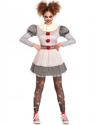 Psycho-Clown Halloween-Damenkostüm weiss-grau-rot