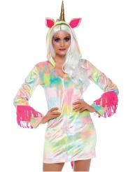 Bunte Einhorn Sweatjacke für Damen regenbogenfarben