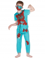 Zombie-Arzt Kinderkostüm Chirurg Halloween blau-rot