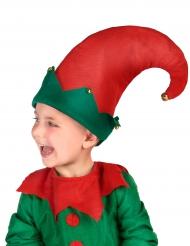 Wichtel-Hut für Kinder mit Glocken rot-grün