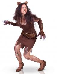 Werwolf-Damenkostüm für Halloween braun