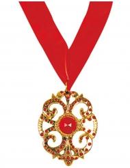 Vampir-Medaillon Kostüm-Accessoire rot-gold