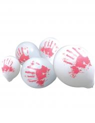 Blutige Luftballons Raumdekoration Halloween 10 Stück weiss-rot