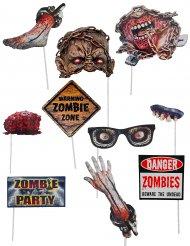 Zombie-Photobooth 10-teilig Halloween-Zubehör bunt