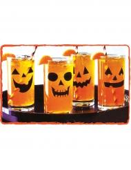 12 Kürbis-Aufkleber für Gläser Halloween