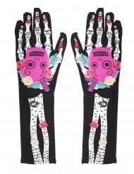 Dia de los muertos-Handschuhe Damen-Accessoire für Halloween bunt