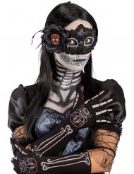 Dia de los muertos-Handschuhe Skelett Accessoire für Damen schwarz-bunt