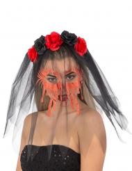 Düsterer Haarreif mit Rosen Halloween-Accessoire schwarz-rot