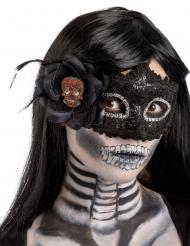 Entzückende Dia de los muertos-Augenmaske Halloween-Accessoire schwarz