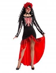Dia de los muertos Flamenco-Tänzerin Damenkostüm Halloween bunt