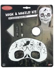 Skelett-Make-up-Set und Augenmaske 5-teilig weiss-schwarz