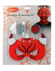 Teuflisches Schmink-Set für Kinder mit Maske 5-teilig rot