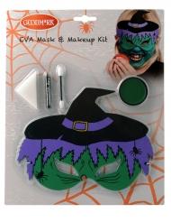 Zauberhaftes Hexen-Schminkset für Kinder mit Maske 5-teilig grün-violett