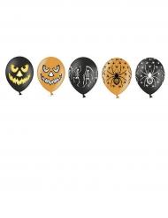 20 bedruckte Halloween Luftballons orange schwarz