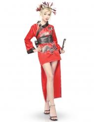 Kimono-Verkleidung für Damen Drachenmotiv rot-schwarz