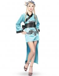 Drachen-Kämpferin Kimono-Verkleidung für Damen türkis-schwarz