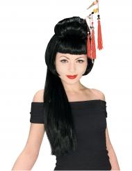 Lange Geisha Perücke für Damen schwarz