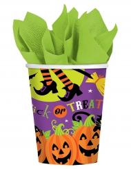 Trick or Treat-Trinkbecher für Halloween 8 Stück bunt 266 ml