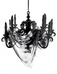 Schauriger Kronleuchter aus Pappe Raumdekoration schwarz 41x58cm