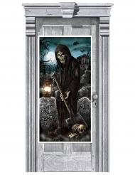 Tür-Dekoration für Halloween Sensenmann schwarz-blau 165x85cm