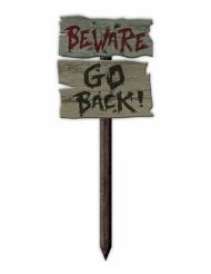 Deko-Schild Beware Go Back Halloween-Zubehör grau-schwarz 54 x 20 cm