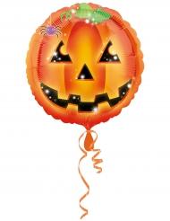 Kürbis-Luftballon für Kinder Halloween-Deko orange-grün 43cm