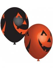Kürbis Halloween-Ballons Raumdekoration 6-teilig orange-schwarz 27cm
