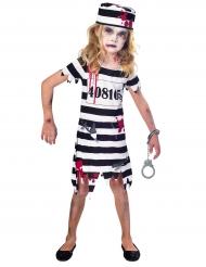 Zombie-Sträflingskostüm für Mädchen Halloween schwarz-weiss