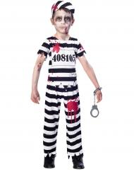 Gefangener-Zombiekostüm für Kinder Halloween schwarz-weiss