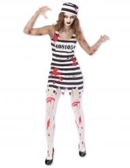 Zombie-Sträflingskostüm für Damen Halloween schwarz-weiss