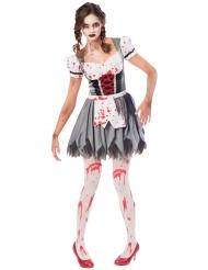 Zombiehaftes Oktoberfest-Damenkostüm Tracht grau-weiss-rot